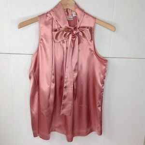 Pink Blush Silky Bow Tie Sleeveless Blouse